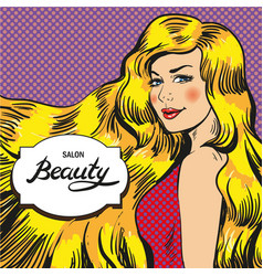 for beauty salon retro pop vector image vector image