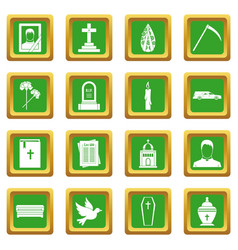 Funeral icons set green vector