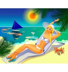 Girl on the tropical beach vector image