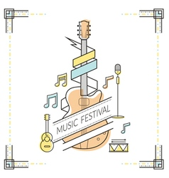 Guitar music festival poster line style vector