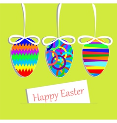 Hanging easter eggs and greeting card vector image