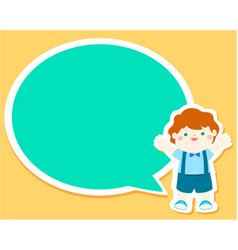 Happy little boy kid with empty speech bubble vector