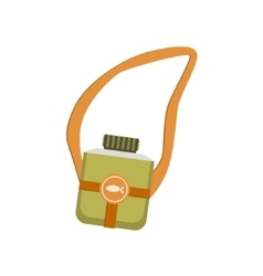 Khaki color flask with belt vector