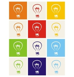 Light bulb icon hand drawn set isolated on white vector image