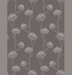 Linear flower seamless pattern on dark background vector