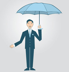 Man holding umbrella vector