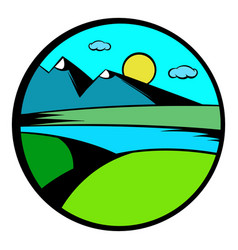 Mountain lake with high mountain icon vector
