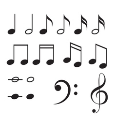 Music notes icon set vector image vector image