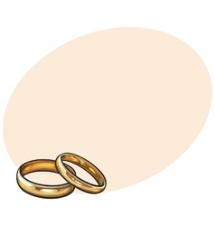 Pair of traditional golden wedding rings for bride vector image