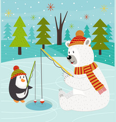 polar bear and penguin on fishing vector image vector image