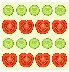 red tomatoes and green cucumbers vector image vector image