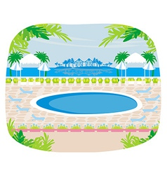 Relaxing tropical swimming pool vector image