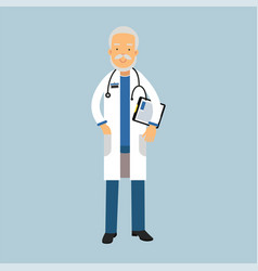 senior doctor character in uniform standing with vector image vector image