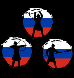 Set of warrior silhouette on russia flag vector