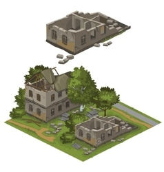 Several destroyed buildings and trees city vector