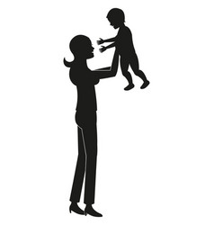 Silhouette mother holding baby vector