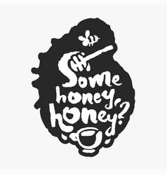 some honey honey in an ink blot vector image vector image