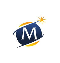 swoosh logo letter m vector image vector image