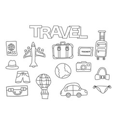 Travel elements hand drawn set vector
