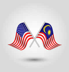 Two crossed american and malaysian flags vector