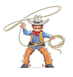 Cowboy with lasso american vector