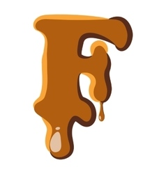 Letter f from caramel icon vector