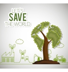 Lets save the world ecology factory house bike vector