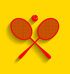 Tennis racket sign  red icon with soft vector