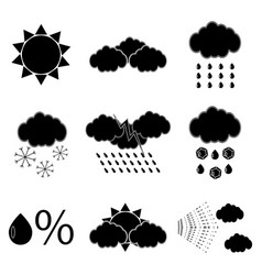 Black silhouette meteorology icons set vector