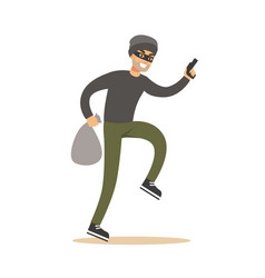 robber in mask with sack and gun colorful cartoon vector image