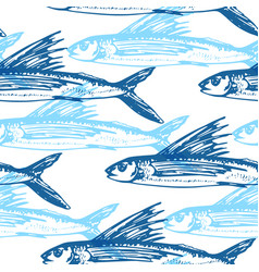 pattern with blue flying fish vector image