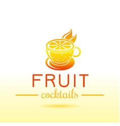 fresh fruit drink bar logo icon flat juice vector image