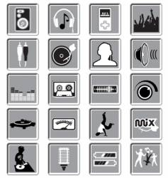 Dance music icons vector