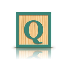 Letter q wooden alphabet block vector