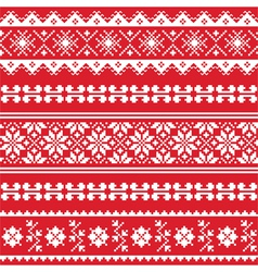 Ukrainian folk emboidery white pattern on red vector image