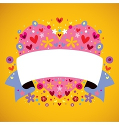 Floral heart ribbon vector
