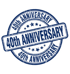 40th anniversary blue grunge stamp vector