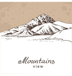 Mountains and lake white vector