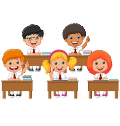 School children in classroom at lesson vector