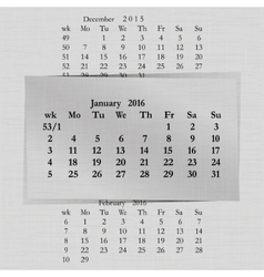 Calendar month for 2016 pages january start monday vector