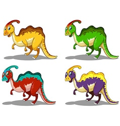 Parasaurolophus in four colors vector