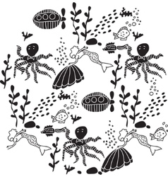 Underwater sealife animal round black and white vector