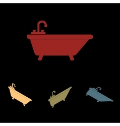Bathtub icon set vector
