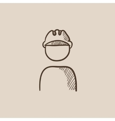 Worker wearing hard hat sketch icon vector