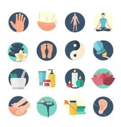 Acupuncture flat icon set vector