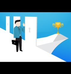 Businessman is choose a right doors to enter it vector