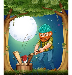 A forest with a hardworking woodman chopping woods vector