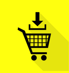Add to shopping cart sign black icon with flat vector