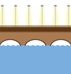 Brown bridge over the river vector