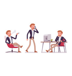 Dandy office scenes different situations vector